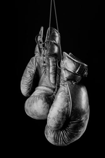 Black and white Vintage boxing gloves