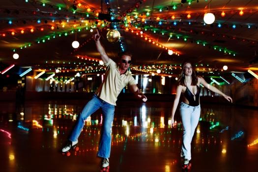 Retro 70's Roller Disco Couple